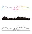 Sydney skyline linear style with rainbow vector image vector image