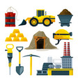 tools for gold mining and minerals vector image