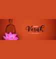 vesak day banner papercut buddha and lotus vector image vector image