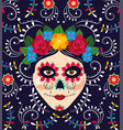 woman skull decoration with flowers to mexican vector image