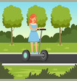 young redhead woman riding on scooter in city par vector image vector image