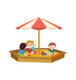 children playing in the sandbox on playground vector image