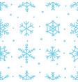 various blue snowflake seamless pattern winter vector image