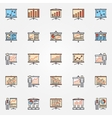 Business chart presentation icons vector image