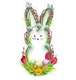 easter bunny silhouette wreath of twig green vector image