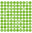 100 intelligent icons hexagon green vector image vector image