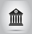 bank building icon with dollar sign in flat style vector image vector image