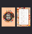 barbecue or grill vertical menu template vector image vector image