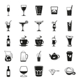 beverages simple black icons set vector image vector image