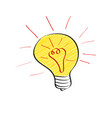 bright light bulb in doodle style isolated on vector image