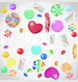 candy collection on white isolated background vector image vector image