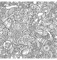 cartoon doodles nautical seamless pattern vector image
