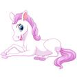 Cartoon funny beautiful pony horse sitting isolate vector image