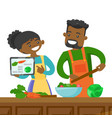 couple looking for a recipe in a digital tablet vector image vector image