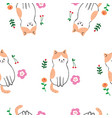 cute seamless pattern colorful cat vector image vector image