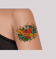 decorative tattoo on female armheart word mother vector image vector image