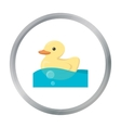 Duck toy cartoon icon for web and vector image