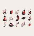 election isometric icons collection vector image vector image