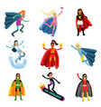 female superheroes in different costumes set of vector image vector image