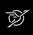 flying stork linear logo on a dark background vector image