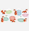 fox set winter stickers vector image vector image