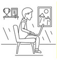 freelancer boy home concept background outline vector image