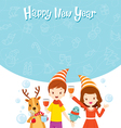 Girl Boy Reindeer And Bird Fun With Party vector image