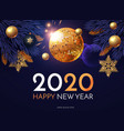 happy new 2020 year shining holiday design vector image vector image