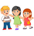 holding her friends shoulder for stable his body vector image