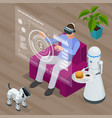 isometric techno robots and man sitting on sofa at vector image vector image