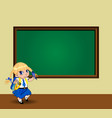 kawaii schoolgirl with braids standing near vector image vector image