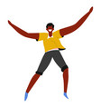 laughing man jumping african guy happiness and vector image