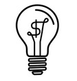 light bulb lamp with us dollar currency symbol vector image vector image