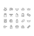 line laundry icons vector image vector image