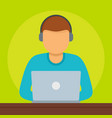 man at laptop icon flat style vector image vector image