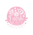 natural fresh juice logo drinks label in pink vector image vector image
