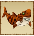 One evil tiger shark cartoon character vector image