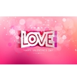 paper curved inscription love on a pink background vector image vector image