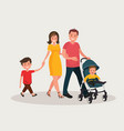 parents with baby mom and dad walk with his vector image vector image