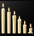 realistic burning candle wax candles reflow vector image