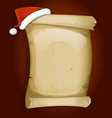 santa claus hat on old parchment scroll vector image