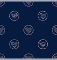 seamless hearts in rings pattern on dark hand vector image vector image