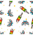seamless pattern butterfly and popsicle hand vector image vector image