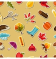 Seamless pattern with autumn sticker icons and vector image
