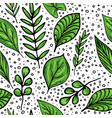 seamless summer green leaves pattern vector image vector image