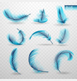 set of isolated falling blue fluffy twirled vector image vector image