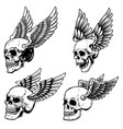set winged human skull isolated on white vector image vector image