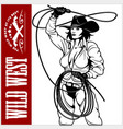 sexy cowgirl with lasso isolated on white vector image vector image