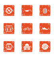 sport regimen icons set grunge style vector image