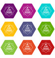 systems 3d printing icons set 9 vector image vector image